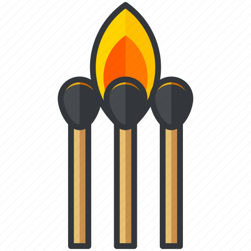 burning, essentials, fire, flame, matches, outdoor icon
