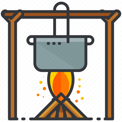 cooking, essentials, fire, flame, outdoor, pot icon