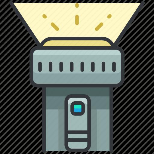 essentials, flashlight, light, outdoor, tool icon