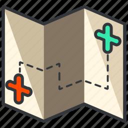 essentials, location, map, outdoor, treasure icon