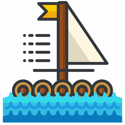 boat, camp, essentials, outdoor, raft icon
