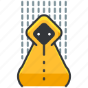 camping, coat, essentials, outdoor, rain icon
