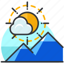 essentials, mountain, outdoor, scenery, sun icon