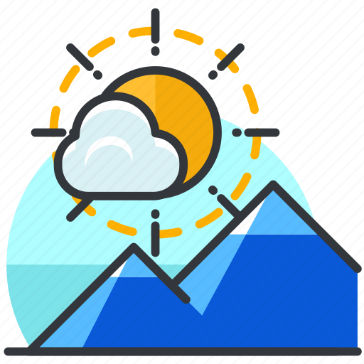 essentials, mountain, outdoor, scenery, sun icon
