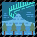aurora, borealis, nature, sky, trees icon