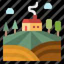 farm, farming, field, hills, rural icon