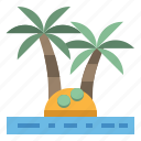 coconut, island, palm, summer, tree icon