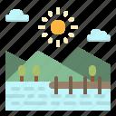 bridge, lake, landscape, river, scenery