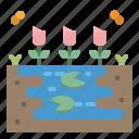 flower, lake, lotus, nature, river icon