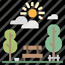bench, cityscape, landscape, park, tree icon