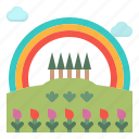 field, landscape, nature, rainbow, tree icon