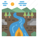 boat, lake, nature, river, trees icon