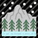 forest, mountain, snow, tree, winter icon