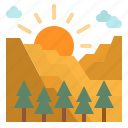 mountain, nature, sun, sunlight, sunrise icon