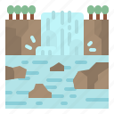 forest, nature, stone, tree, waterfall icon