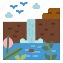 landscape, nature, river, water, waterfall icon