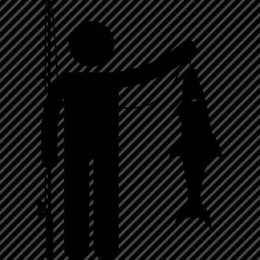catch, fish, fisherman, fishing, man, person, rod icon