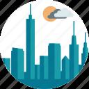 city, day, downtown, night, outdoor, scenery, skyscraper icon