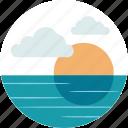 badge, lake, nature, ocean, outdoor, scenery, sunset