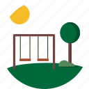 badge, day, outdoor, park, playground, scenery, swing icon