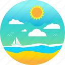 beach, ocean, sail, sand, summer, sun, waves icon
