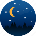 camping, explore, midnight, moon, night, outdoors, stars icon