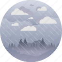 clouds, forecast, forest, overcast, rain, storm, weather icon