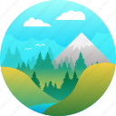 adventure, explore, forest, hike, mountain, river, spring icon