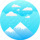 clouds, cold, ice, mountain, peak, snow, winter icon