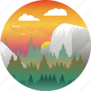 adventure, explore, forest, landscape, outdoors, sunset, yosemite icon