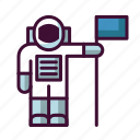 astronaut, flag, galaxy, outer space, space, universe