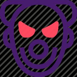 clown, halloween, helloween, october, scary clown icon