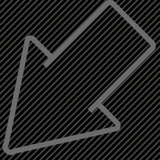 arrow, big, bottom, left icon