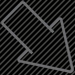 arrow, big, bottom, right icon