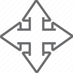 arrow, big, four, way icon