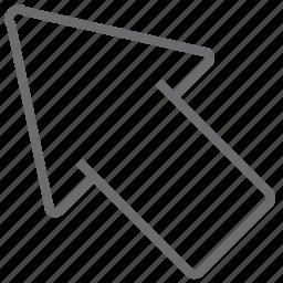 arrow, big, left, top icon