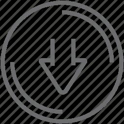 button, circle, down icon
