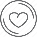 button, circle, heart icon