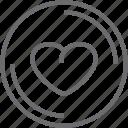 button, circle, heart icon