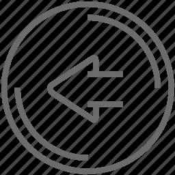 button, circle, left icon