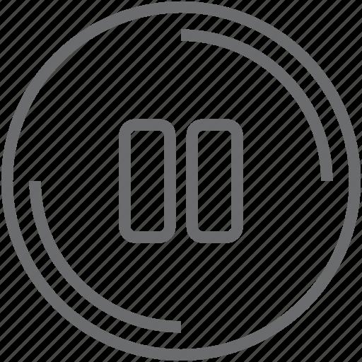 button, circle, pause icon