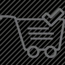 cart, checked icon