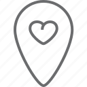 bin, heart, location icon