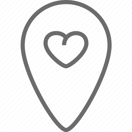 bin, heart, location icon