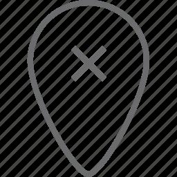 delete, location icon