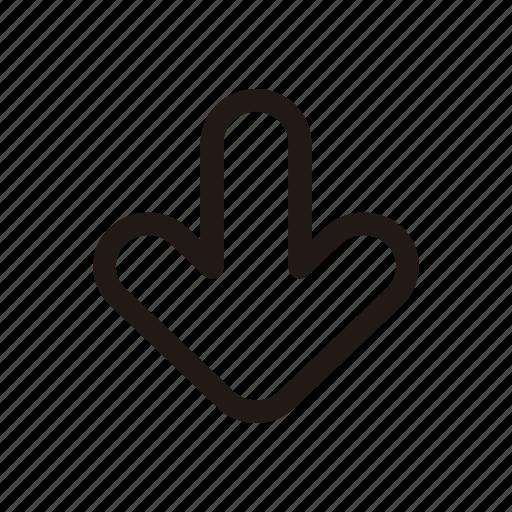 direction, down, folder, move, save, storage icon