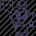 communication, intelligence, robot icon
