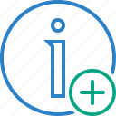 about, add, data, details, help, information icon