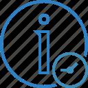 about, clock, data, details, help, information