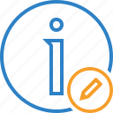 about, data, details, edit, help, information